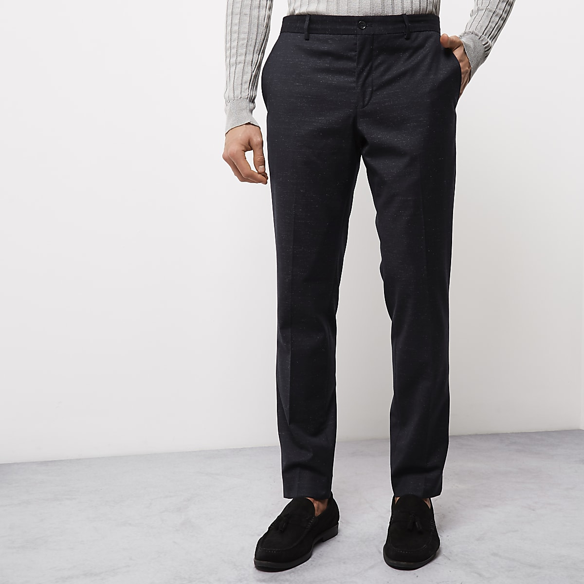 Jack & Jones navy blue flecked smart pants