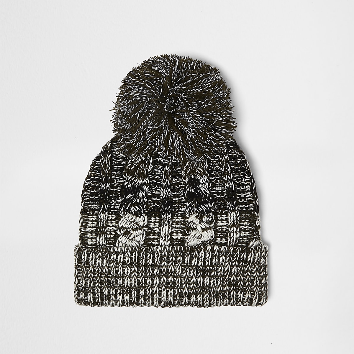 Khaki twist knit bobble hat