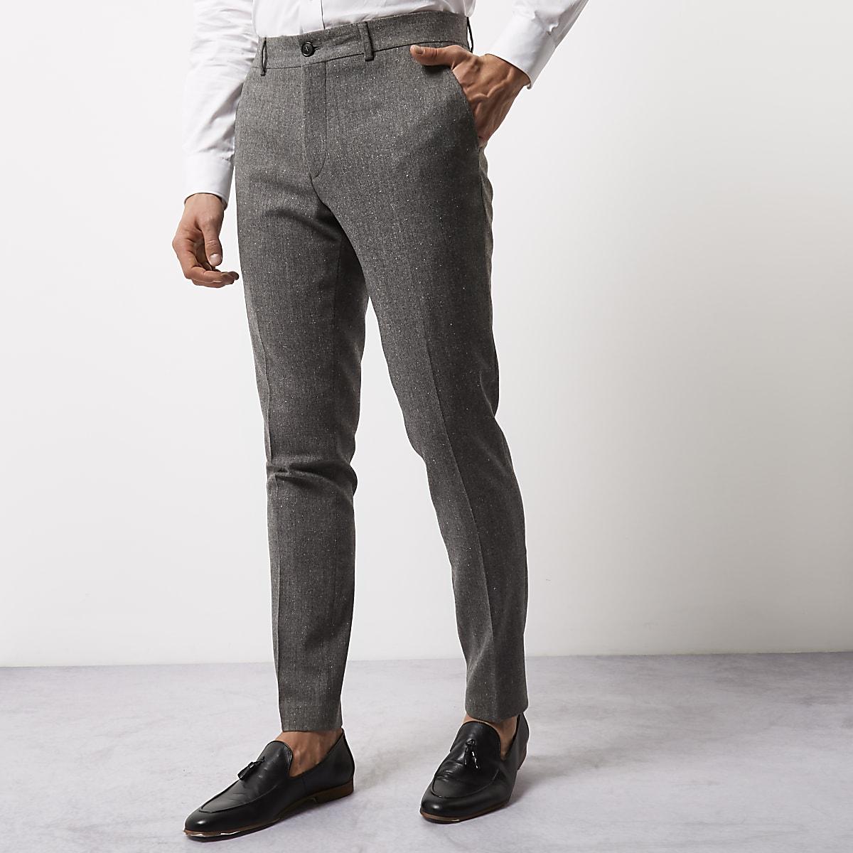 Grey wool blend skinny fit pants