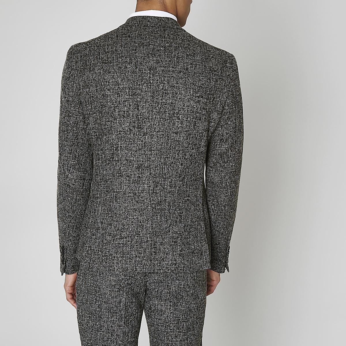 be02fc2b6f3c Navy blue textured skinny fit suit jacket - Suit Jackets - Suits - men