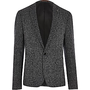 Navy blue textured skinny fit suit jacket