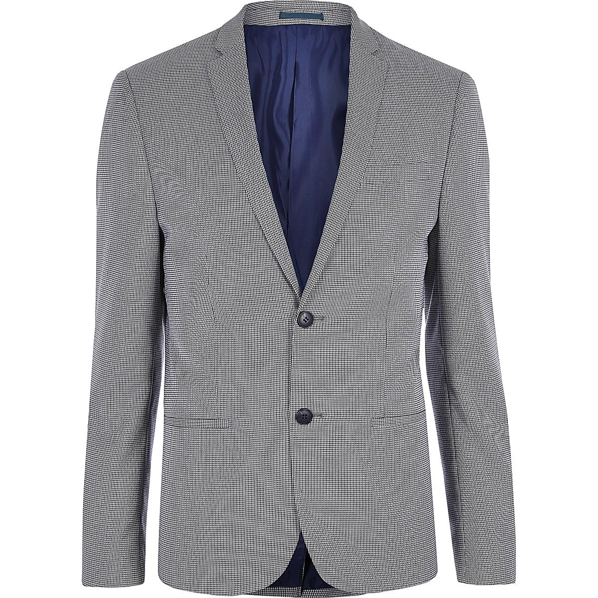 Navy pupstooth skinny suit blazer