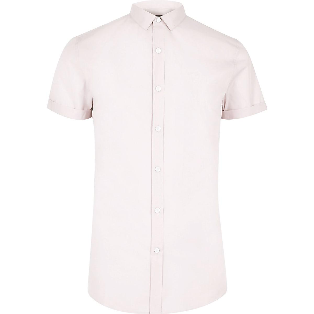 Pink micro collar short sleeve slim fit shirt