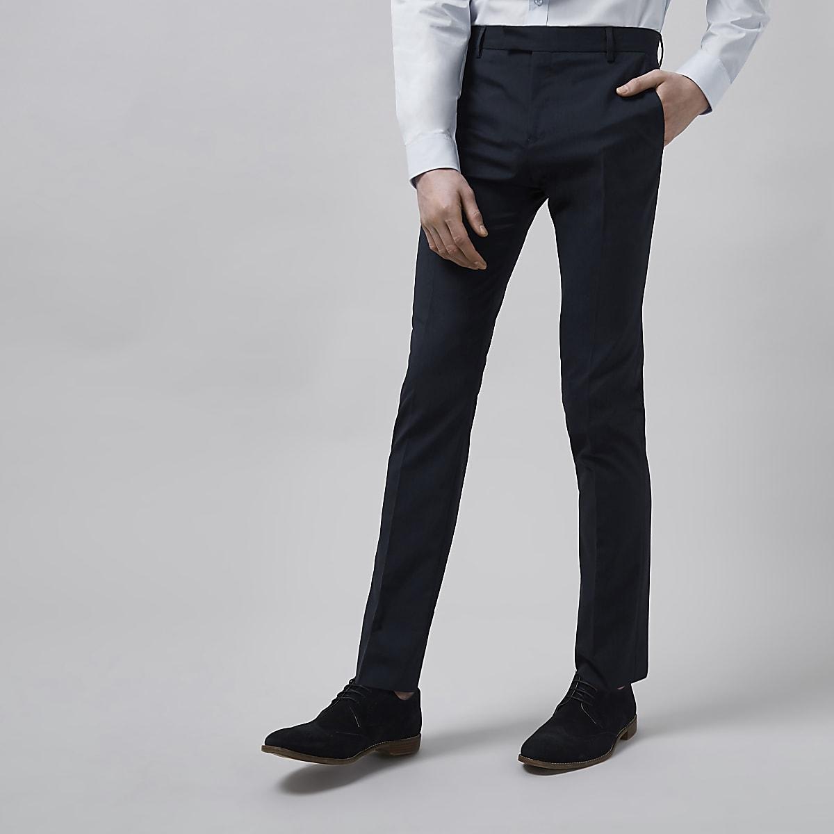 Dark blue skinny fit suit pants