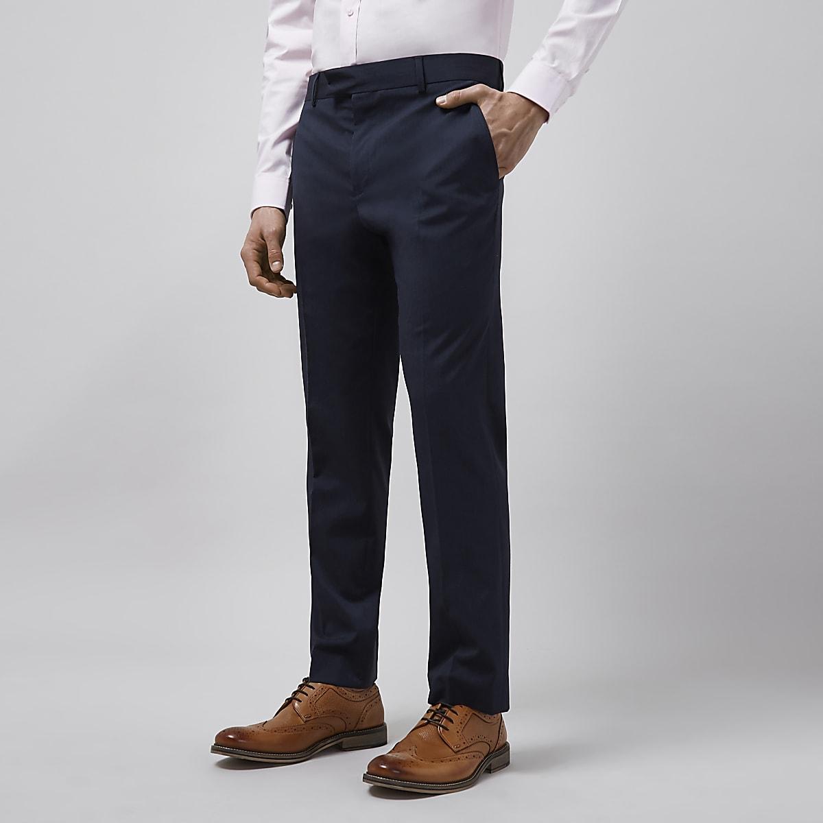 Navy tailored fit suit pants