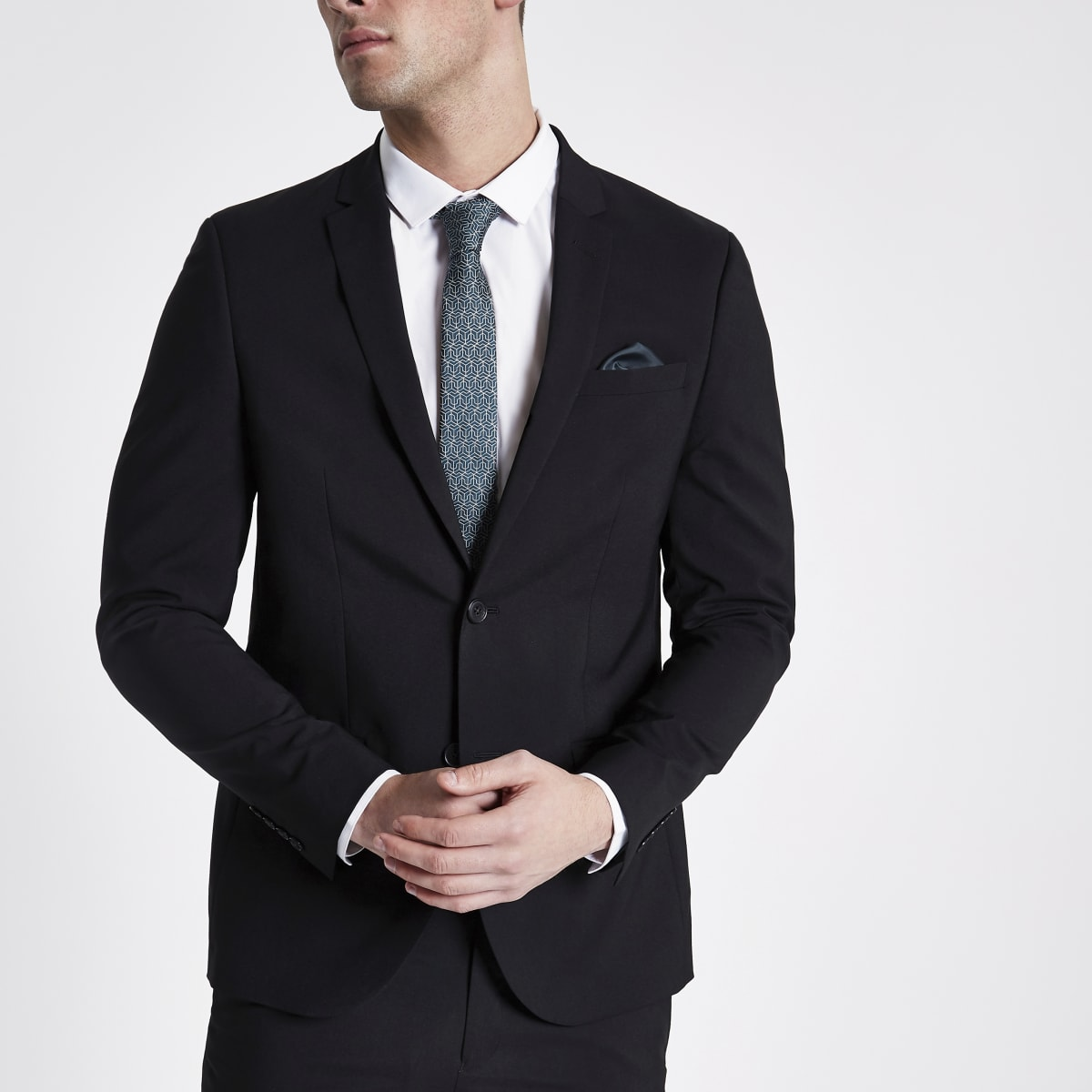 Black  stretch skinny suit jacket
