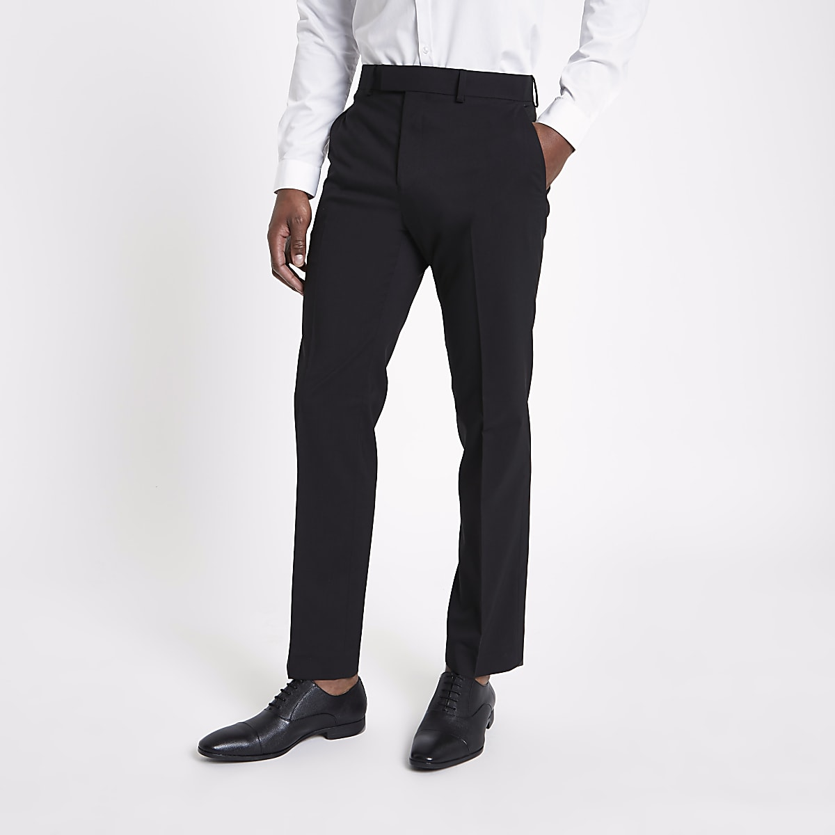 Black tailored fit suit trousers