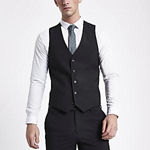 Black button down suit waistcoat