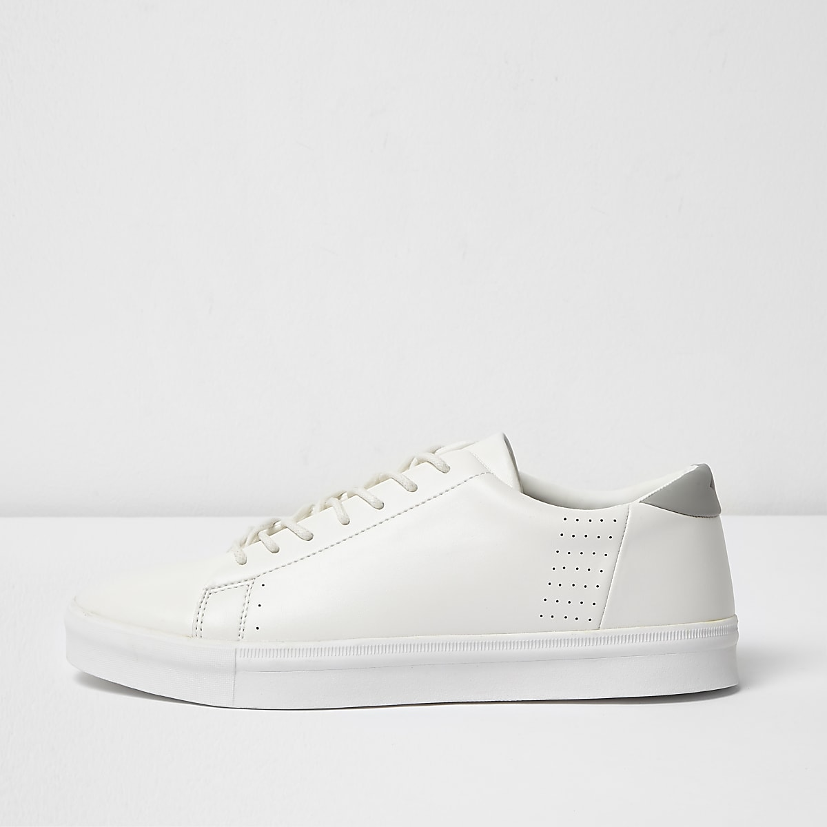 White lace-up perforated trainers