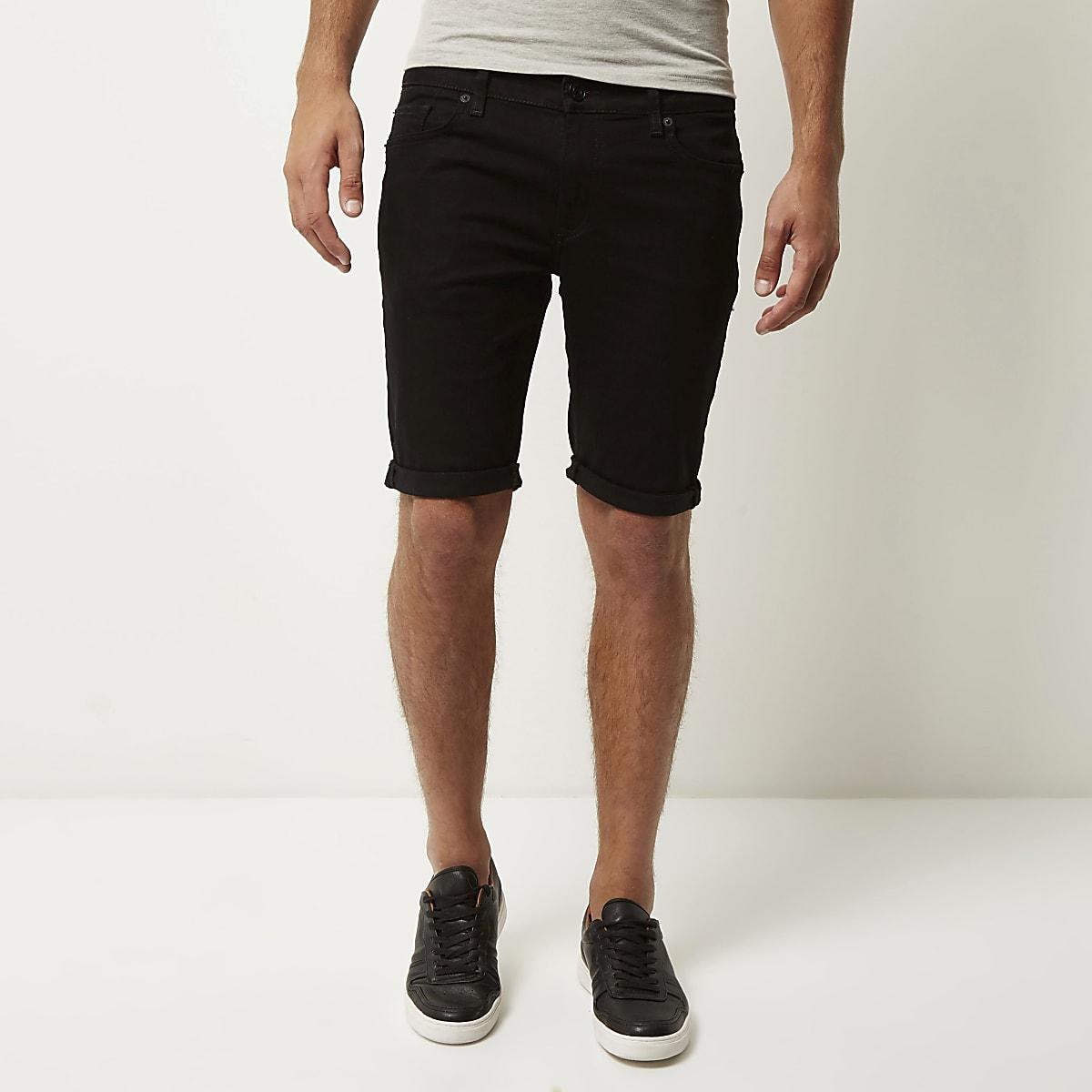 Black skinny stretch fit denim shorts