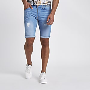Light blue wash skinny-fit ripped denim short