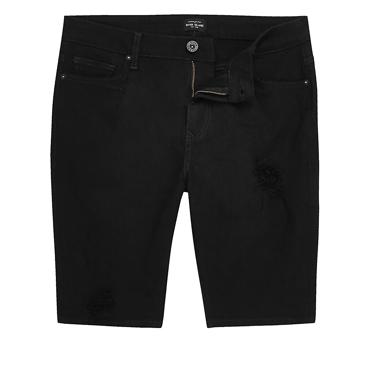 Short en jean noir déchiré