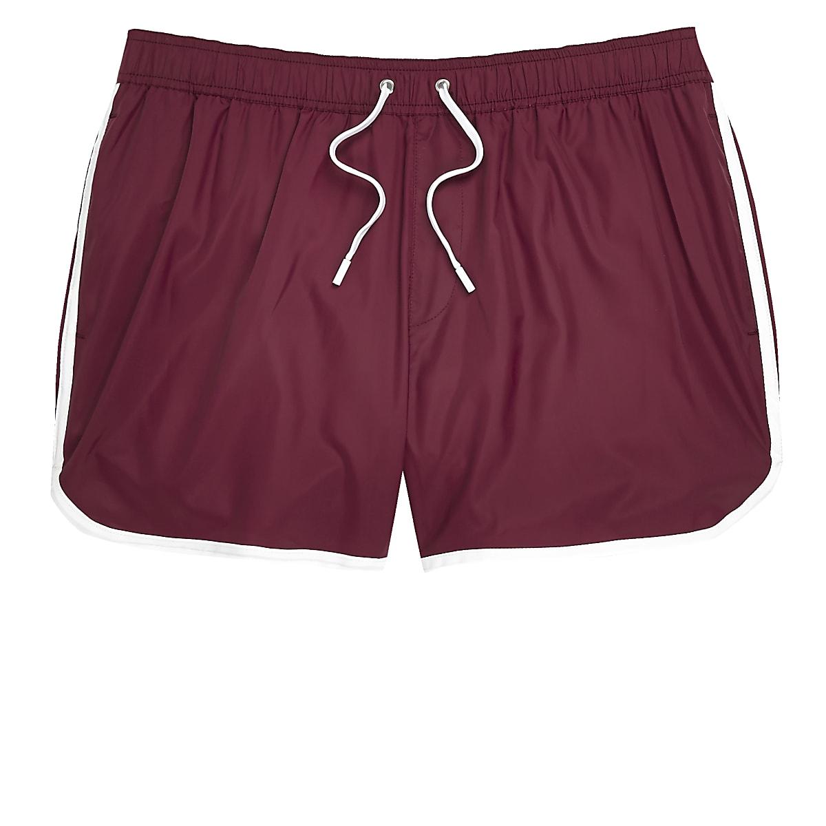Dark red short swim shorts