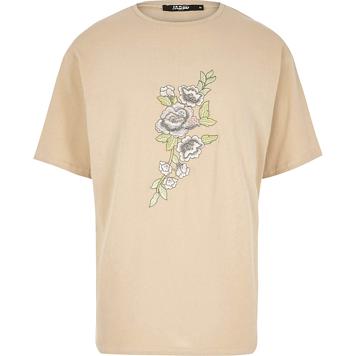 Light brown Jaded London embroidered T-shirt
