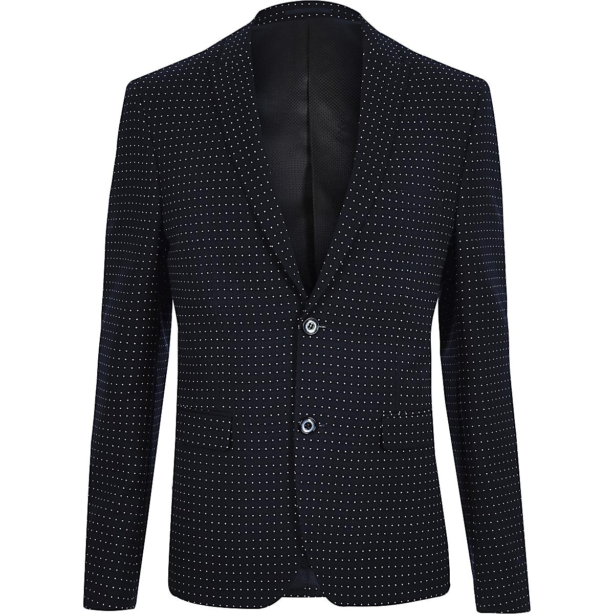 Navy polka dot skinny fit suit jacket