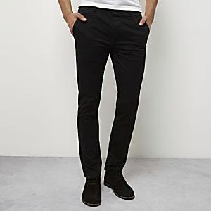 Black stretch skinny chino pants