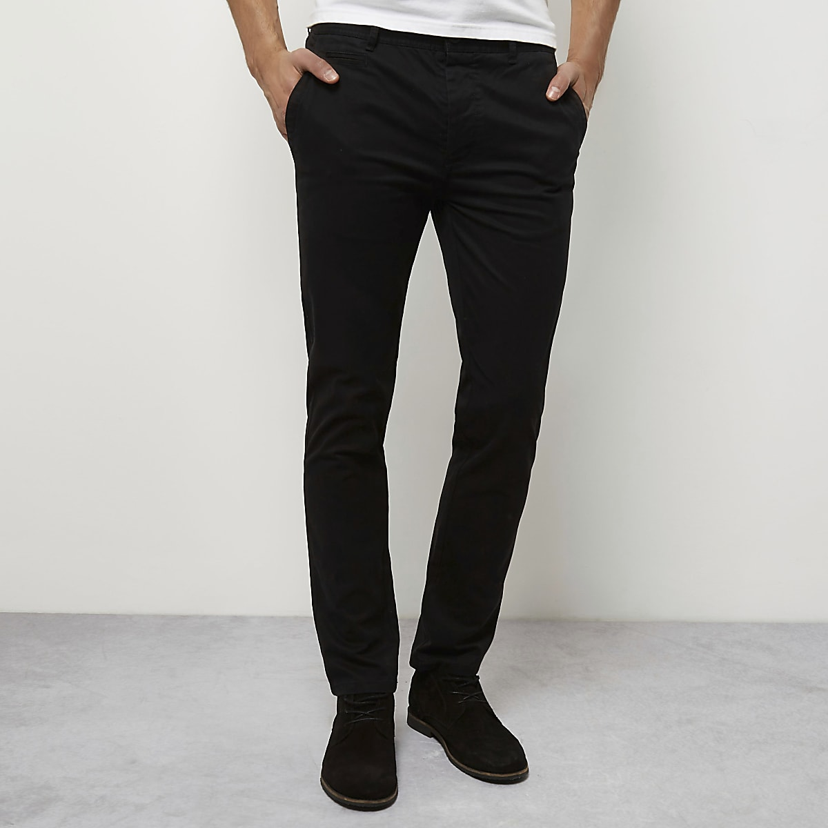Black stretch skinny chino trousers