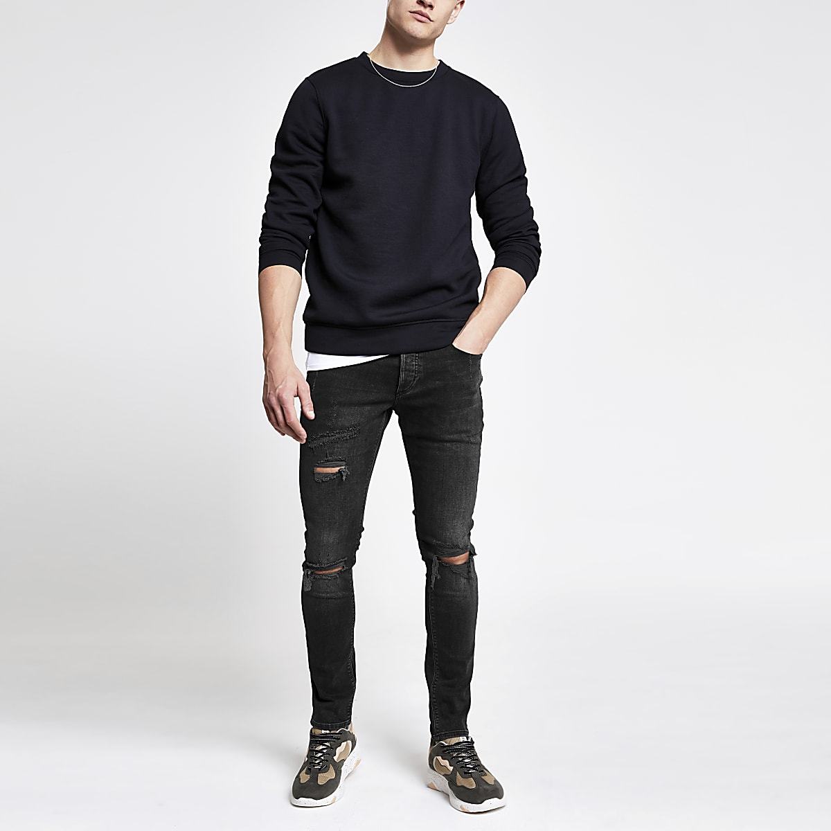 ab28be5ed3 Black wash ripped Sid skinny jeans - Skinny Jeans - Jeans - men