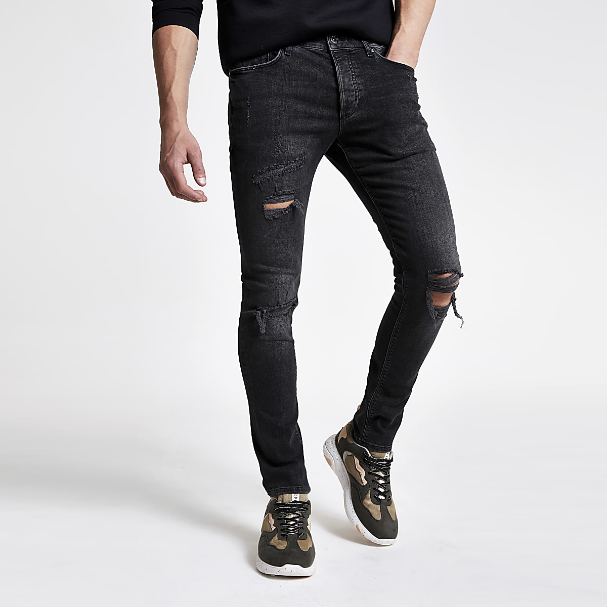 limited price popular style replicas Black wash ripped Sid skinny jeans