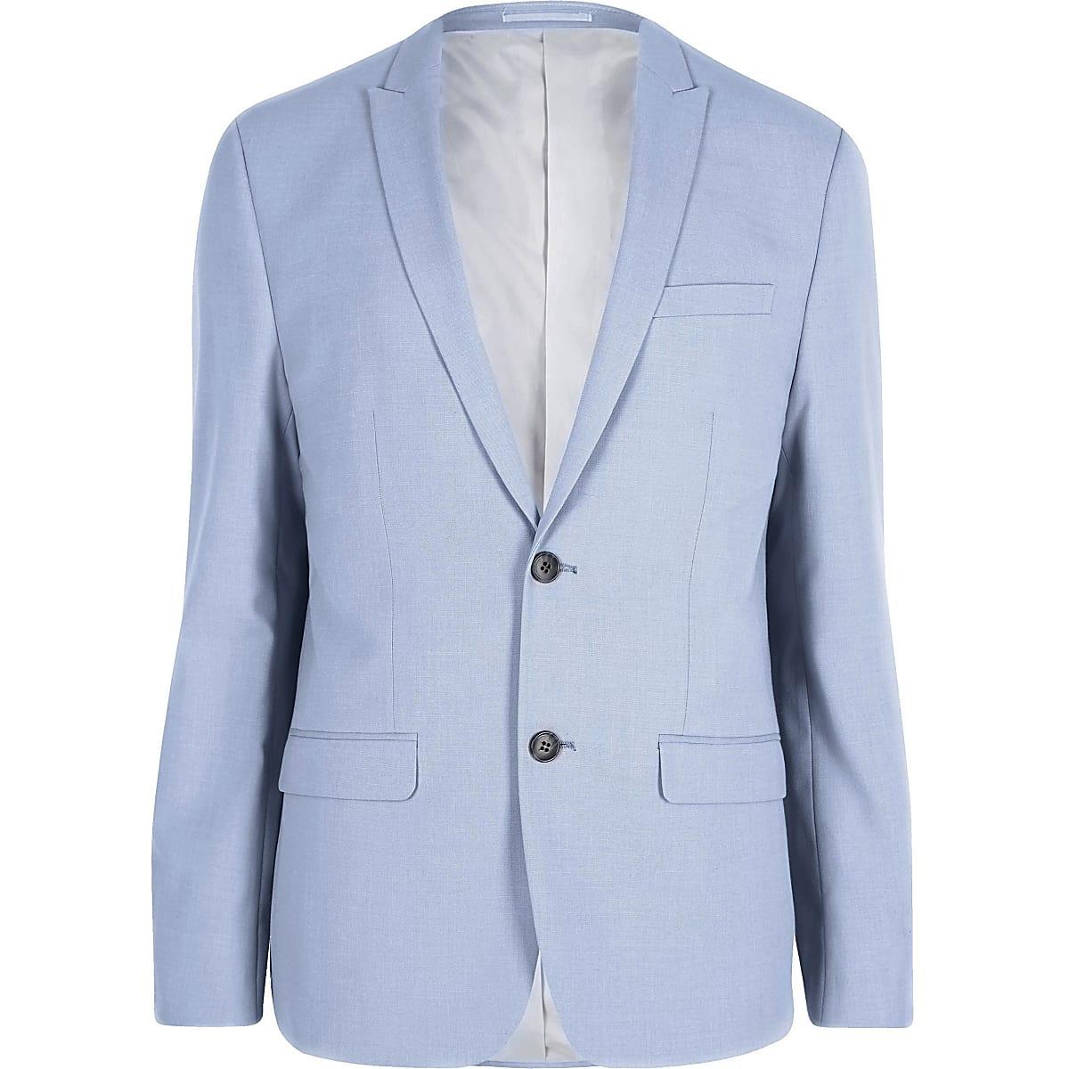 Blue skinny fit suit jacket