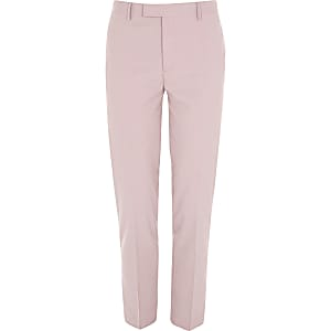 Pink skinny fit suit trousers