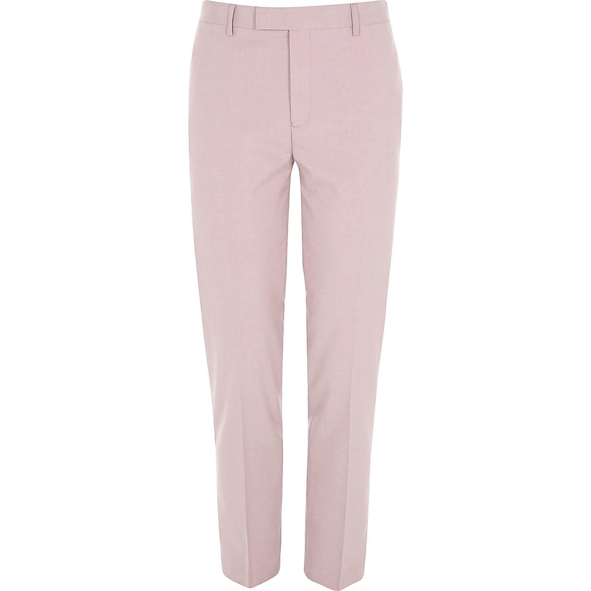 Pink skinny fit suit pants