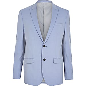 Blue slim fit suit jacket