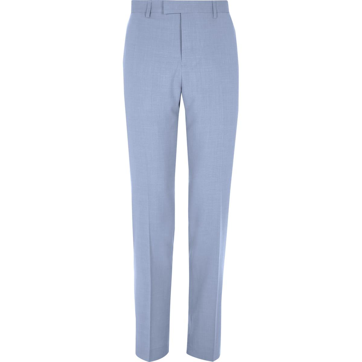Blue slim fit suit trousers