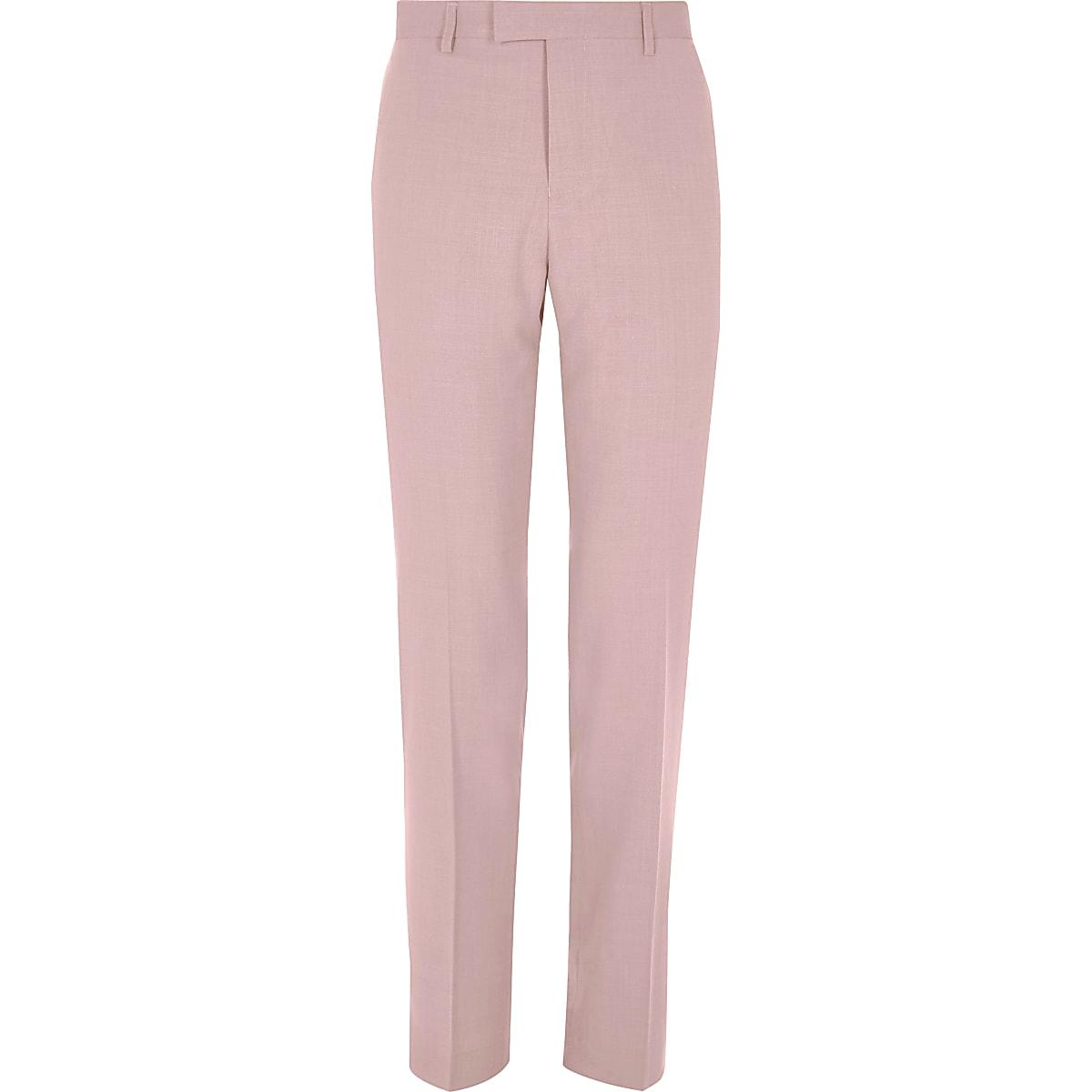 Pink slim fit suit pants