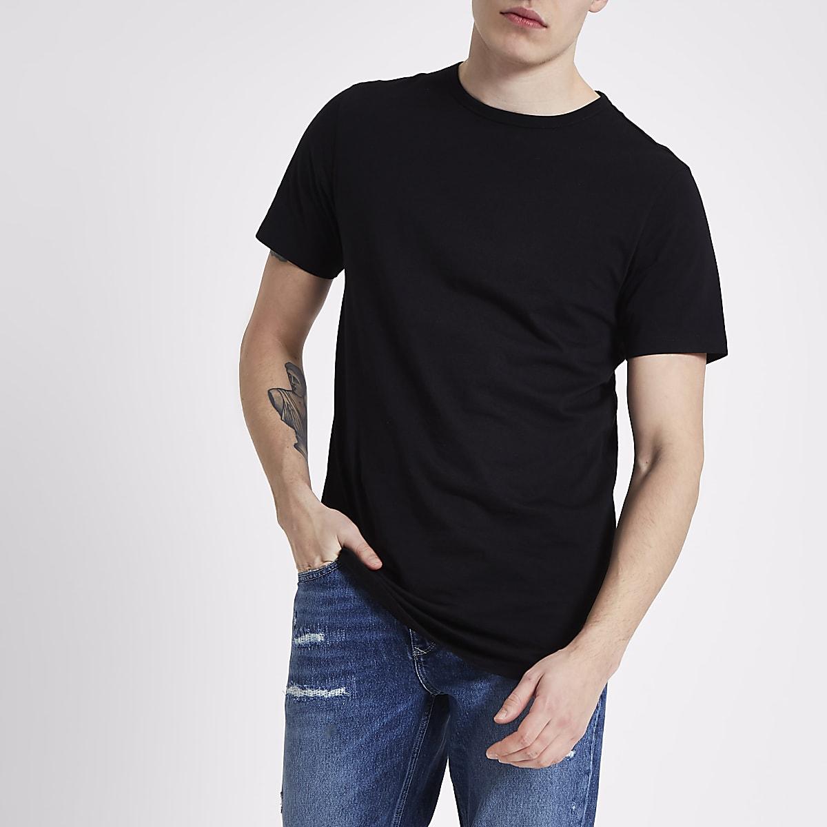 Black curved hem longline T-shirt
