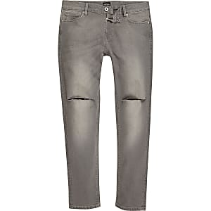 Grey wash ripped knee skinny Sid jeans