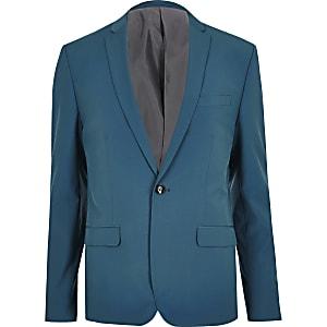 Teal blue skinny fit suit jacket
