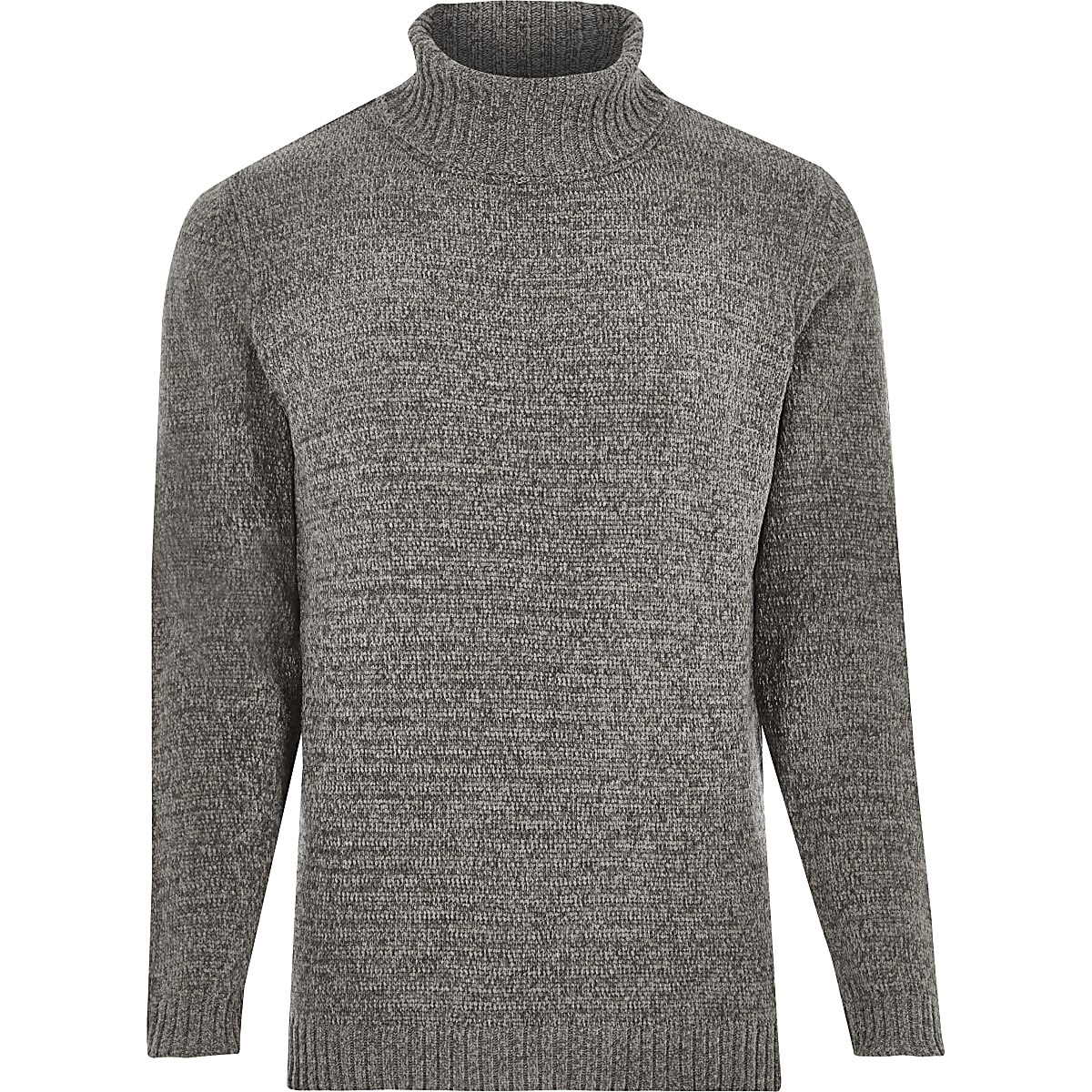 Grey soft roll neck jumper