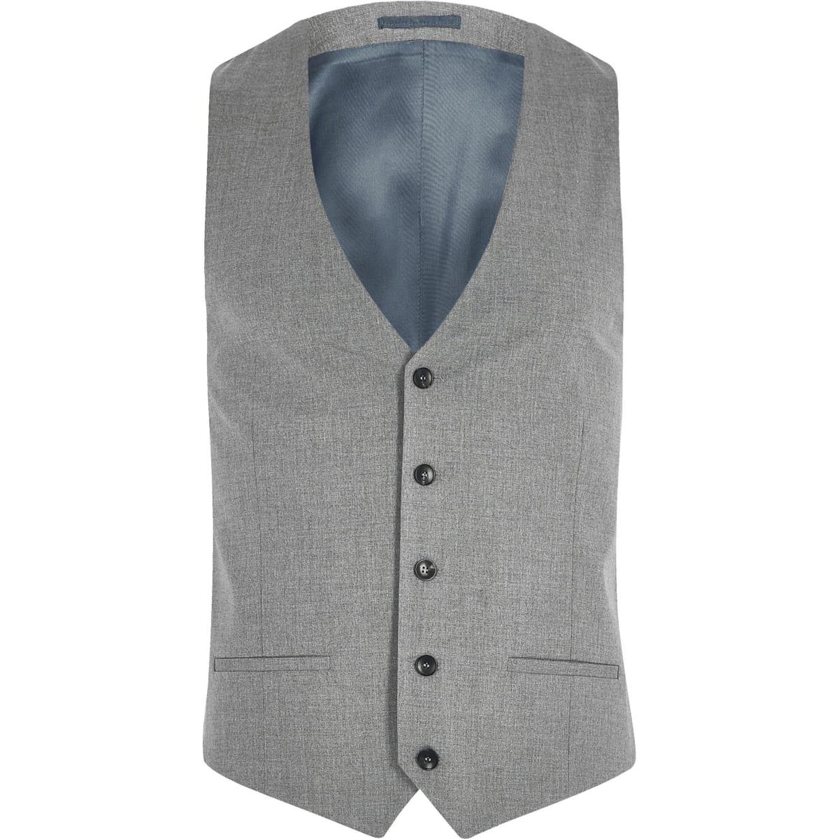 Grey slim fit suit waistcoat