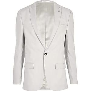 Beige linen slim fit suit jacket