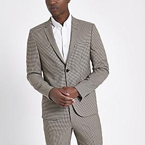 Bruine geruite skinny-fit blazer