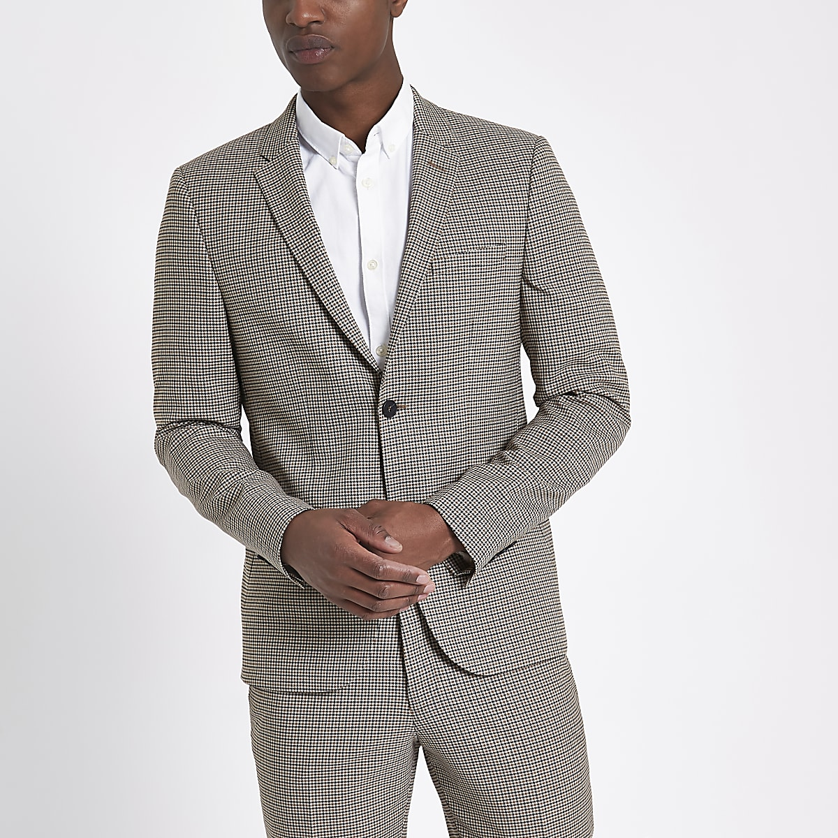 Brown skinny fit dogstooth check suit jacket