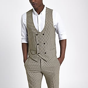 Brown dogstooth check waistcoat