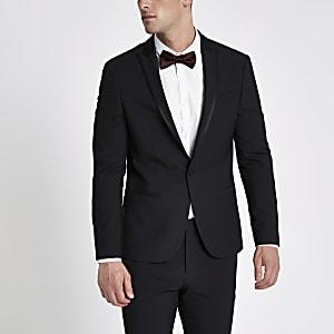 Black satin lapel skinny fit suit jacket