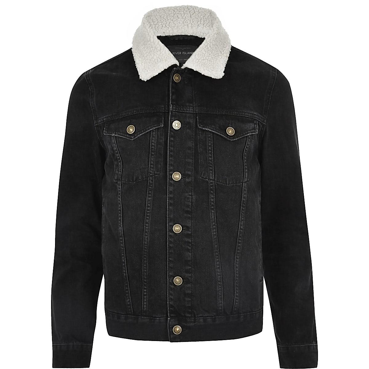 ca991b9215f1 Black washed borg collar denim jacket - Jackets - Coats   Jackets - men