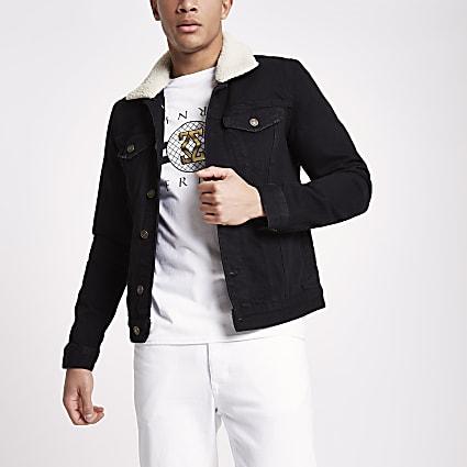 Black ecru borg collar denim jacket