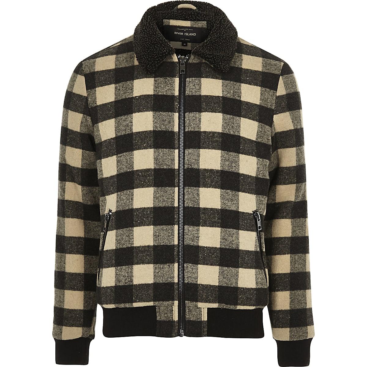 Stone check print fleece collar jacket