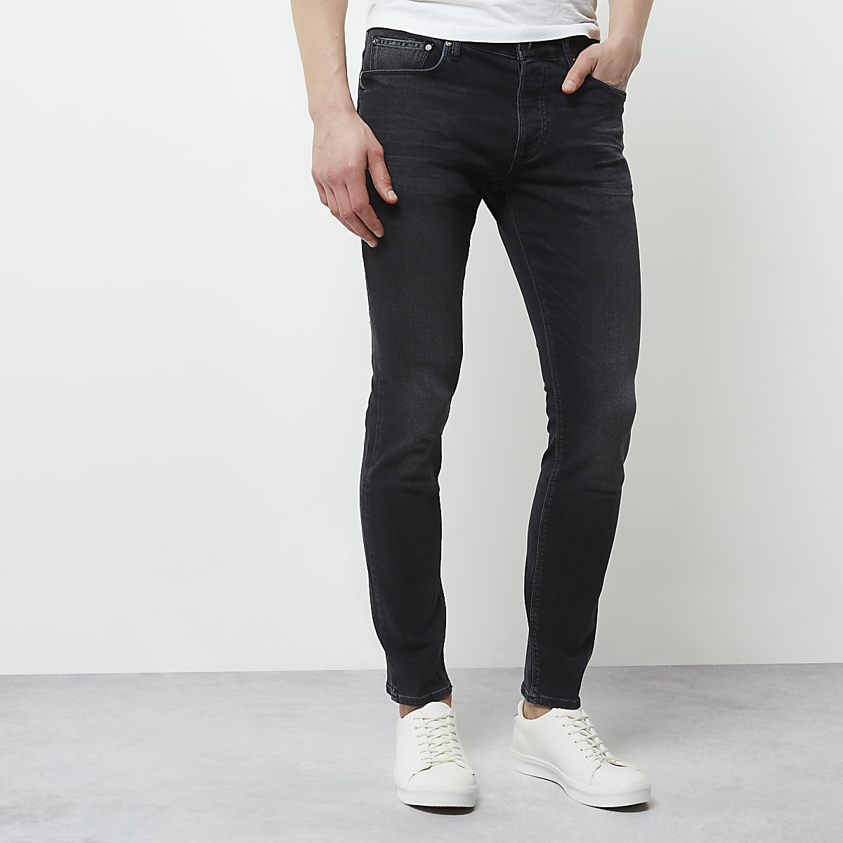 82a2c3b4 Black faded skinny fit Sid jeans - Skinny Jeans - Jeans - men