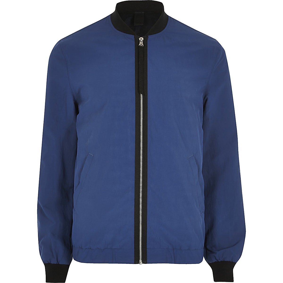 Blue contrast tape bomber jacket