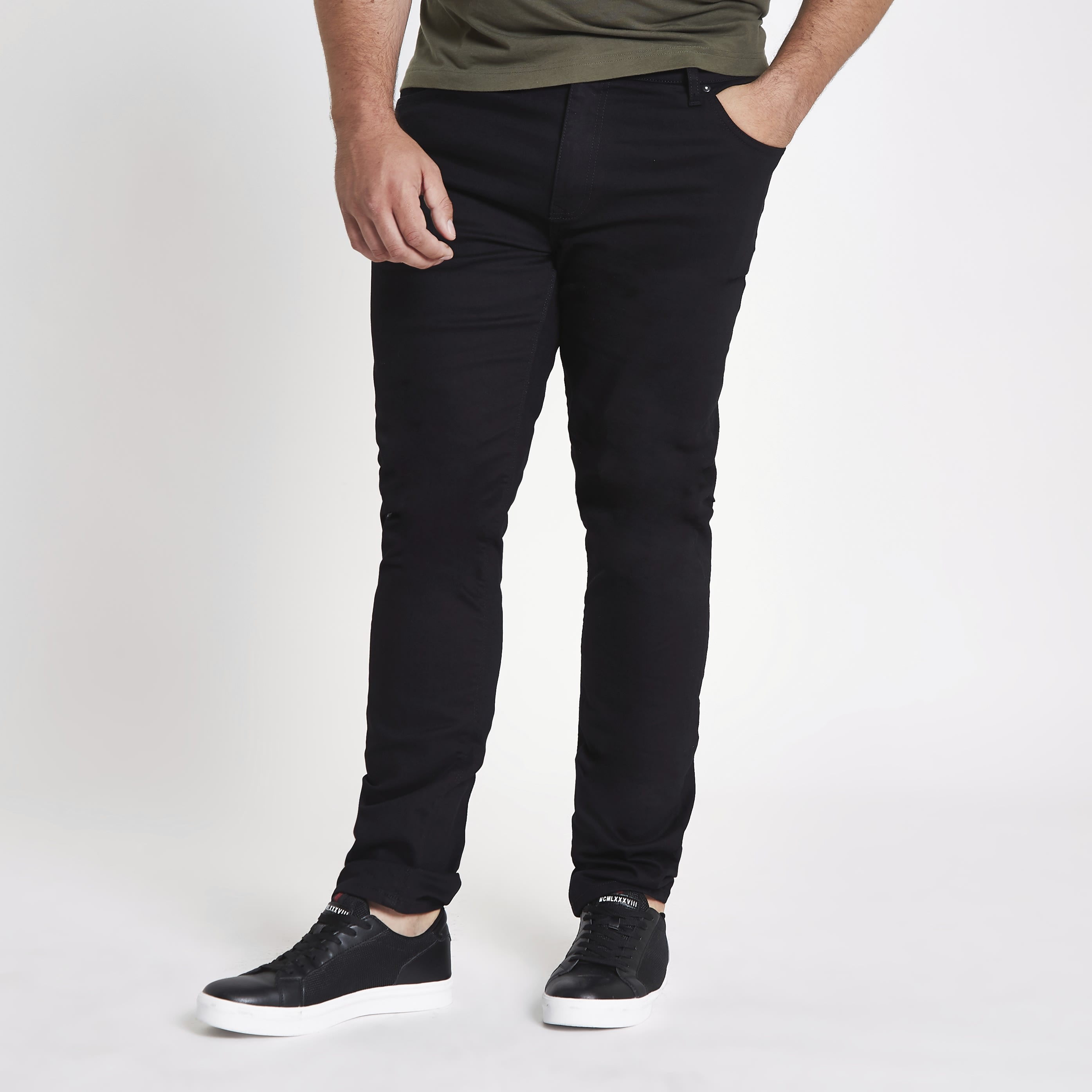 49aee751 RIVER ISLAND | Mens Big and Tall Black Dylan slim fit jeans | Goxip