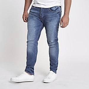 Big and Tall mid blue wash Sid skinny jeans