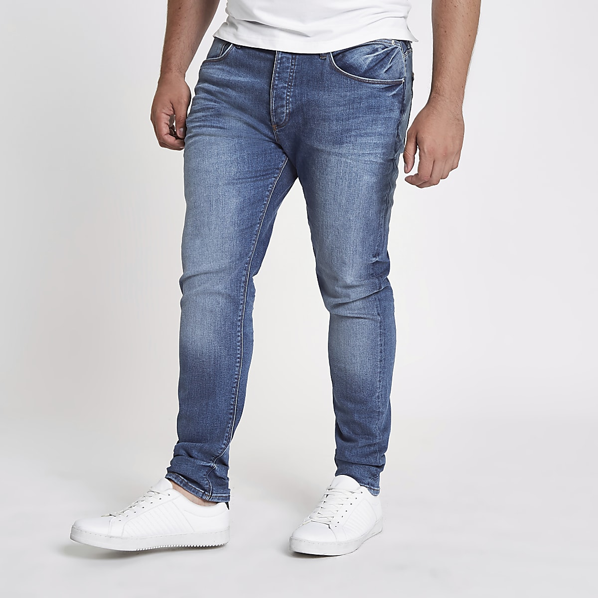 Big & Tall – Sid – Skinny Jeans in mittelblauer Waschung