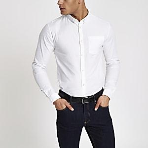 Chemise oxford ajustée manches longues blanche