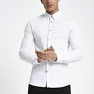 bd9347ea672 White poplin long sleeve muscle fit shirt