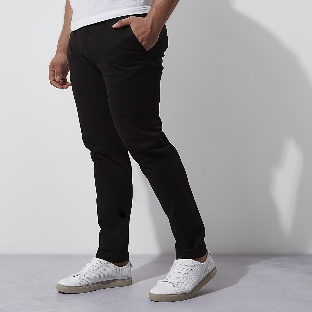 Big and Tall - Pantalon chino skinny noir